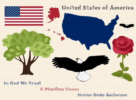 set of principal symbols of United States of America, flag, map and slogans Vector