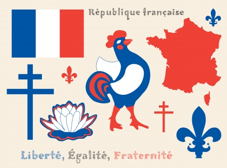 set of principal symbols of French Republic, flag, map and slogan Vector