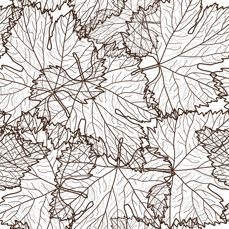 grape leaves: elegant seamless pattern with decorative grape leaves for your design Illustration