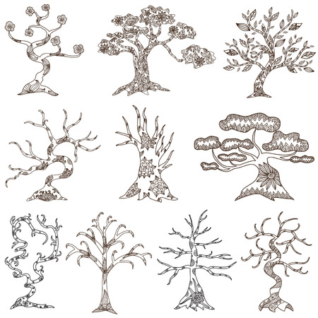 set of 10 hand drawn decorative trees  Vector
