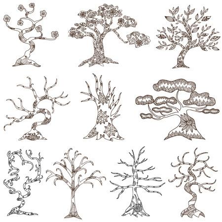 set of 10 hand drawn decorative trees  Stock Illustratie
