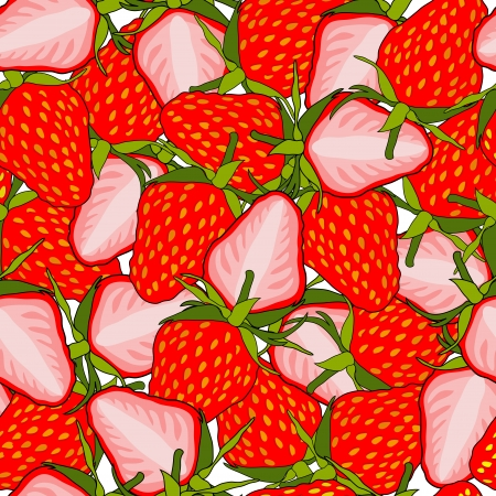 elegant seamless pattern with tasty strawberries   Vector