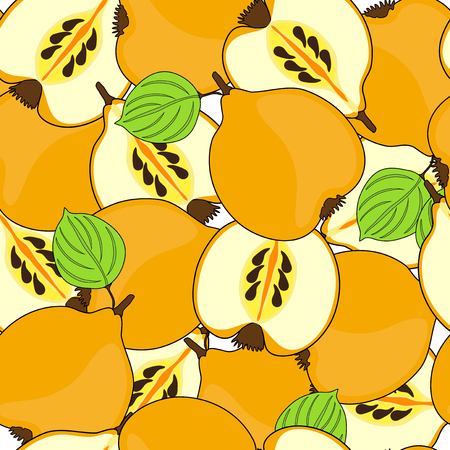 quince: elegant seamless pattern with tasty quince fruits
