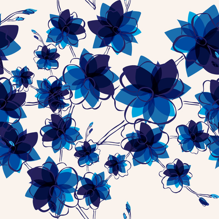 blue flowers: elegant seamless pattern with abstract blue flowers