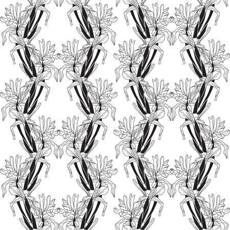 elegant seamless pattern with decorative iris flowers   Vector