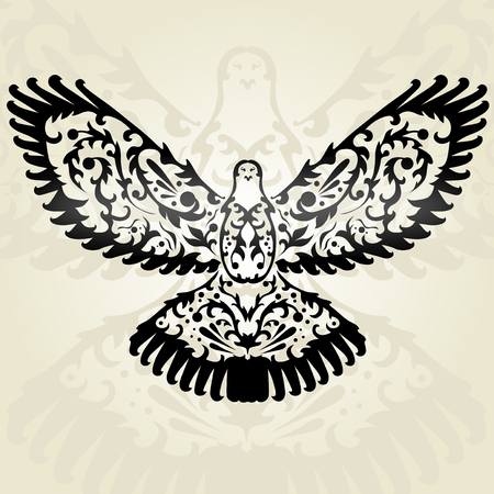 hand drawn decorative dove, design element Vector