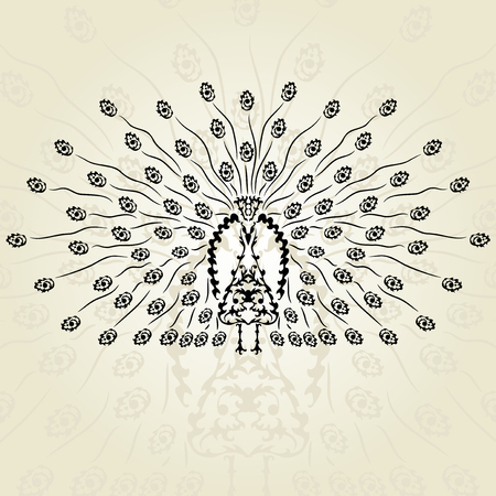 hand drawn decorative peacock, design element Vector
