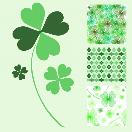 four leaf: decorative lucky four leaf clover and 3 seamless patterns, design elements
