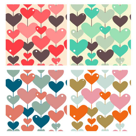 set of 4 seamless patterns with abstract hearts, design elements Illustration
