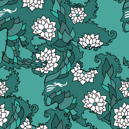 elegant seamless pattern with floral girl silhouettes   Illustration