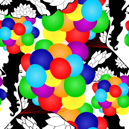 elegant seamless pattern with girl silhouettes and multicolor balloons, design element