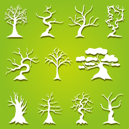 set of 11 decorative trees, design elements Vector