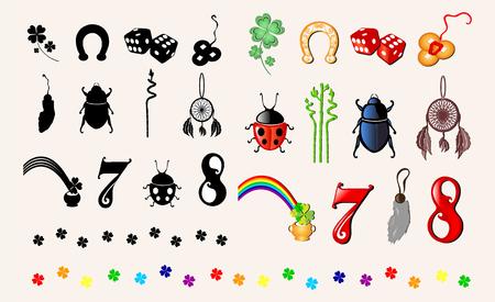 signifier: set of 12 principal symbols of luck, design elements