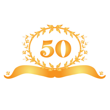 50th: 50th anniversary golden floral banner Illustration