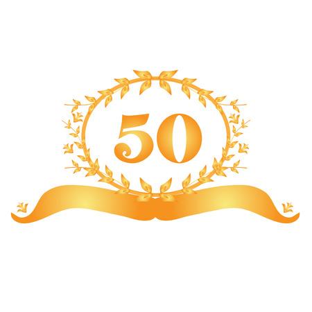 fiftieth: 50th anniversary golden floral banner Illustration
