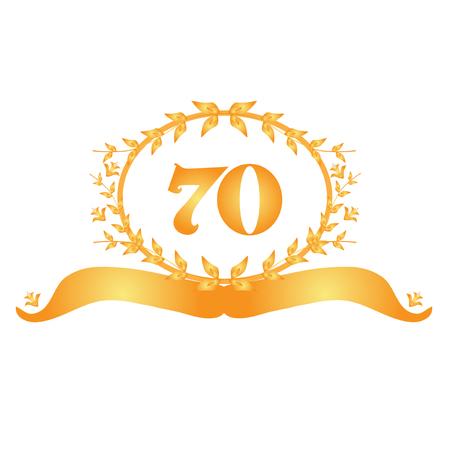 seventieth: 70th anniversary golden floral banner Illustration