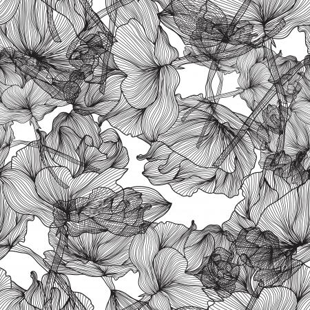 elegant seamless pattern with hand drawn decorative roses, design element Illustration
