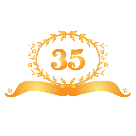 35th: 35th anniversary golden floral banner