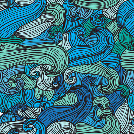 elegant seamless pattern with decorative blue waves, design element Vector