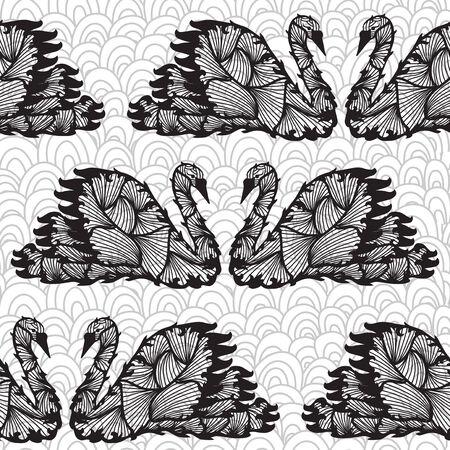 elegant seamless pattern with decorative swans, design element Stock Vector - 25442488