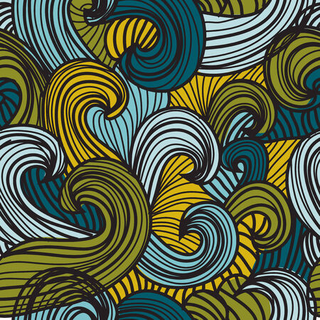 elegant seamless pattern with decorative waves, design element Vector