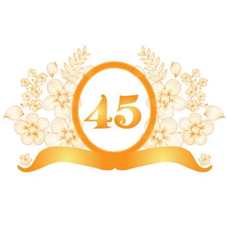 45th: 45th anniversary golden floral banner, design element