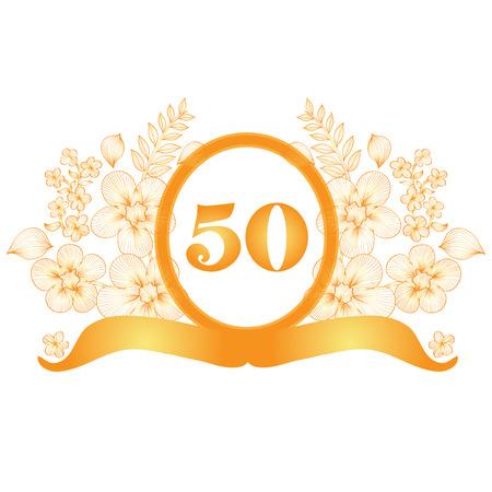 fiftieth: 50th anniversary golden floral banner, design element Illustration