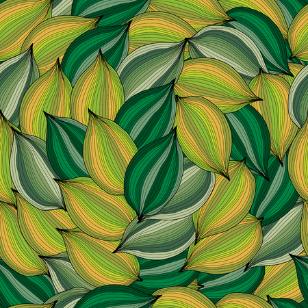 elegant seamless pattern with decorative green and yellow leaves, design element Vector