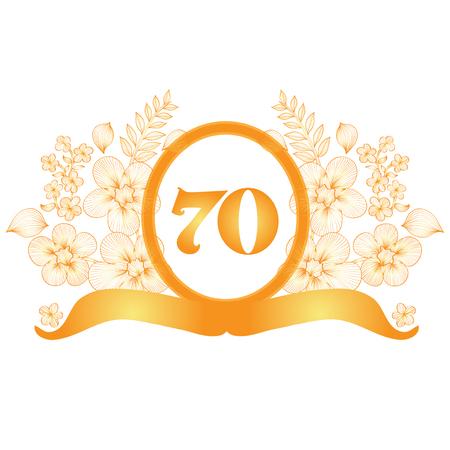 seventieth: 70th anniversary golden floral banner, design element