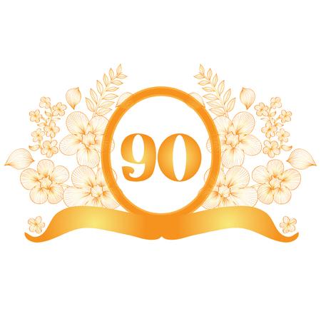 90th: 90th anniversary golden floral banner, design element Illustration