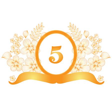 5th: 5th anniversary golden floral banner, design element
