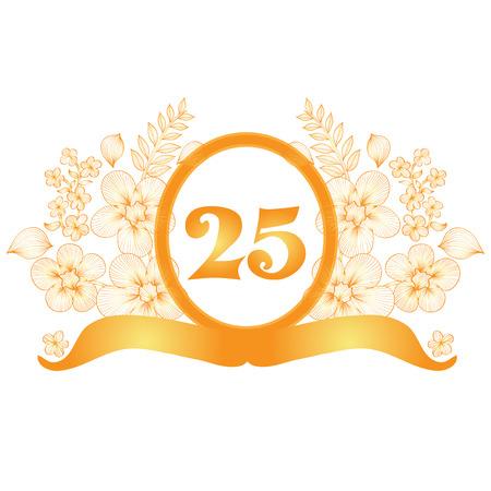 25th: 25th anniversary golden floral banner, design element Illustration
