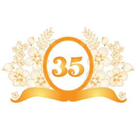 35th: 35th anniversary golden floral banner, design element