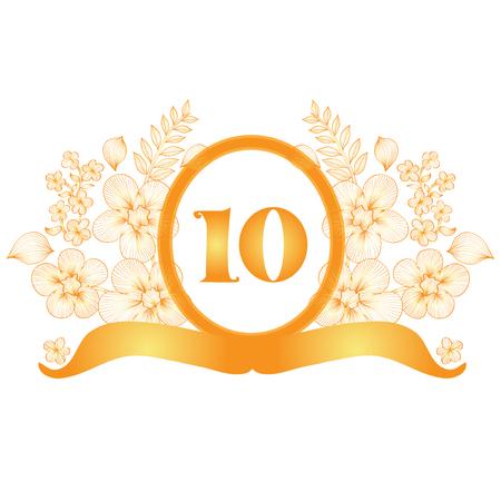 tenth birthday: 10th anniversary golden floral banner, design element Illustration