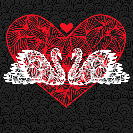 valentines day card with two elegant white swans and big red decorative heart Vector