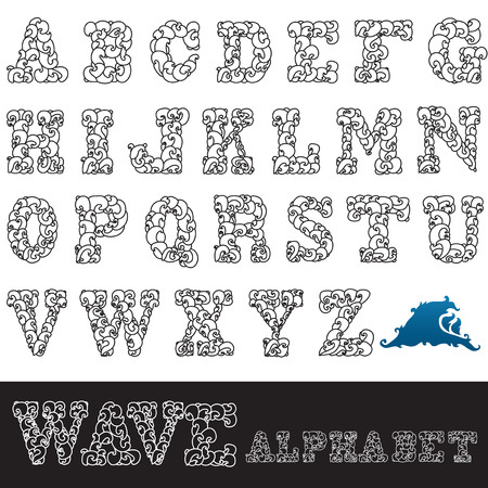 hand drawn decorative alphabet letters with waves, design element