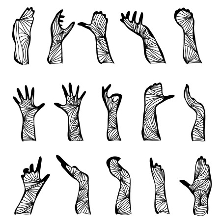 set of 15 hand drawn decorative hand silhouettes, design elements Vector