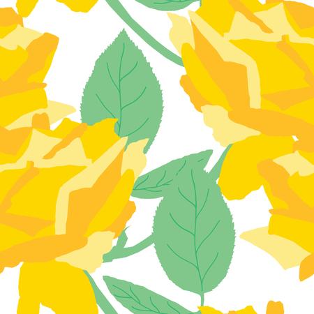 gele rozen: elegant seamless pattern with decorative yellow roses, design element