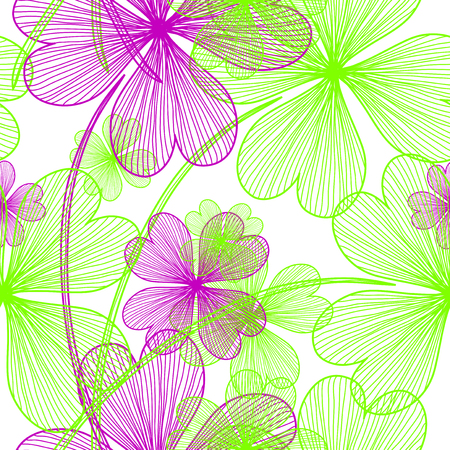 elegant seamless pattern with decorative four leaf clovers, design element Vector