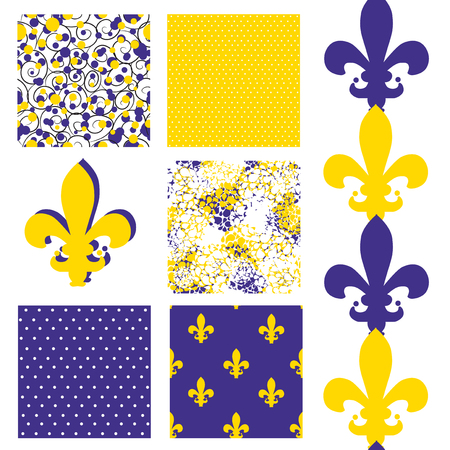 set of 6 elegant seamless patterns with lily flower symbols, dots, curls and abstract flowers, design elements Vector
