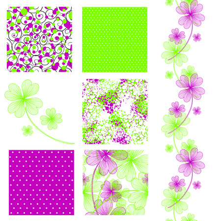 set of 6 elegant seamless patterns with lucky four leaf clovers, dots, curls and abstract flowers, design elements Vector