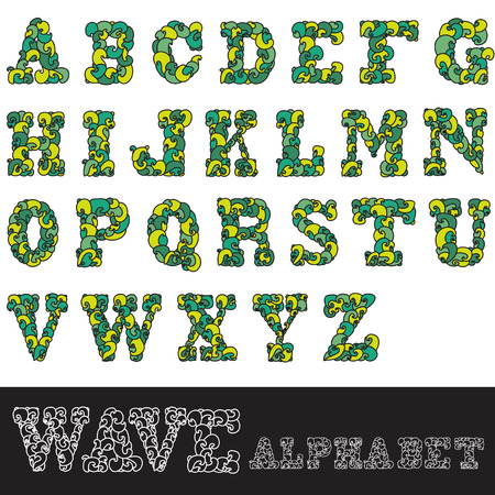 hand drawn decorative wave alphabet letters, design elements Vector