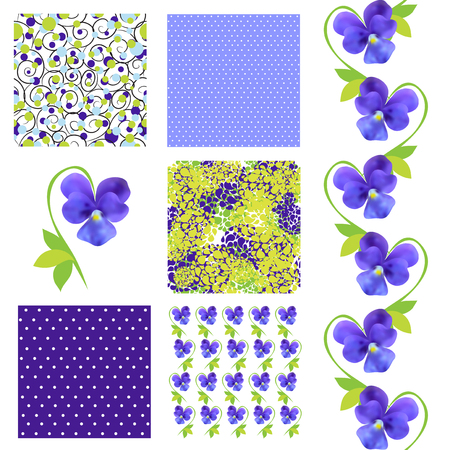 set of 6 elegant seamless patterns with decorative blue pansies, dots and abstract flowers, design elements Vector