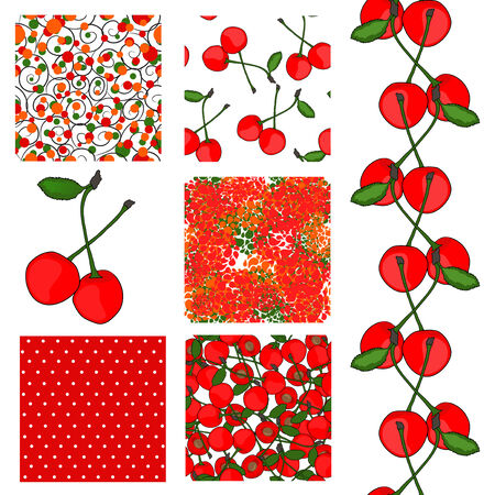 set of 6 elegant seamless patterns with ripe red cherries, dots and abstract flowers, design elements Vector