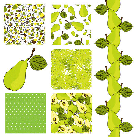 set of 6 elegant seamless patterns with ripe pears, dots and abstract flowers, design elements Vector