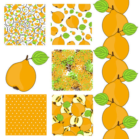 set of 6 elegant seamless patterns with ripe quinces, dots and abstract flowers, design elements Vector