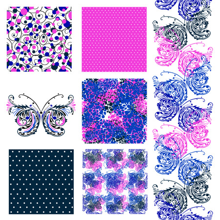 set of 6 elegant seamless patterns with decorative buterflies, dots and abstract flowers, design elements Illustration