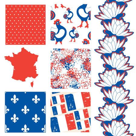 set of 6 elegant seamless patterns with French Republic map, flag and principal symbols, design elements Illustration