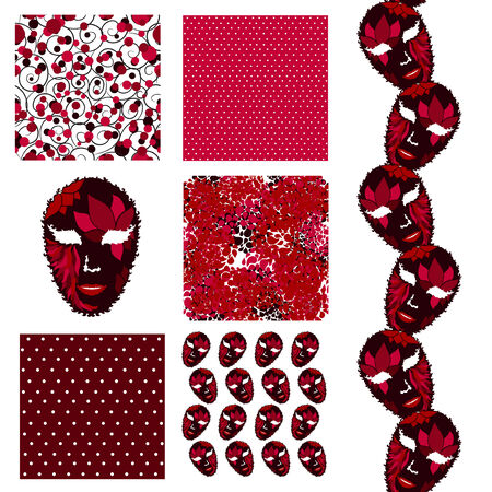 set of 6 elegant seamless patterns with decorative carnival masks, dots and abstract flowers, design elements Vector