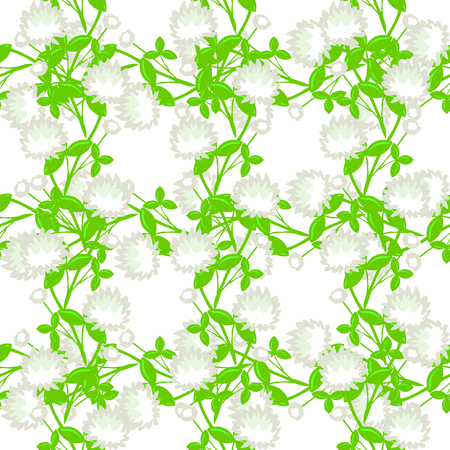 elegant seamless pattern with decorative white clovers, design elements Vector